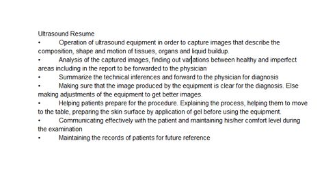 Skills to list on resume for student sonographer The hardest job - ultrasound technician resume sample