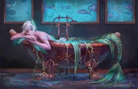 This merman print illustration features a mer in a bathtub and was drawn for mermay. This painting comes as a inch print. Mermaid Drawings, Fantasy Artwork, Mermaid Painting, Creature Art, Fantasy Creatures, Fantasy Mermaid, Mermaid Art, Art Competitions, Dark Fantasy Art