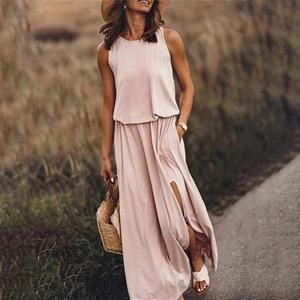 Plain Round Neck Sleeveless Flowing Maxi Dress In 2020