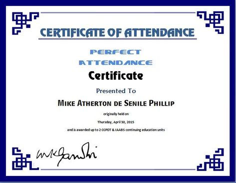 Perfect Attendance Certificate Template Microsoft Templates - expense voucher template