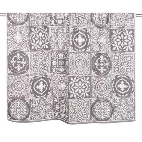 Drap De Bain En Coton Motifs Carreaux De Ciment 100x150 Drap De