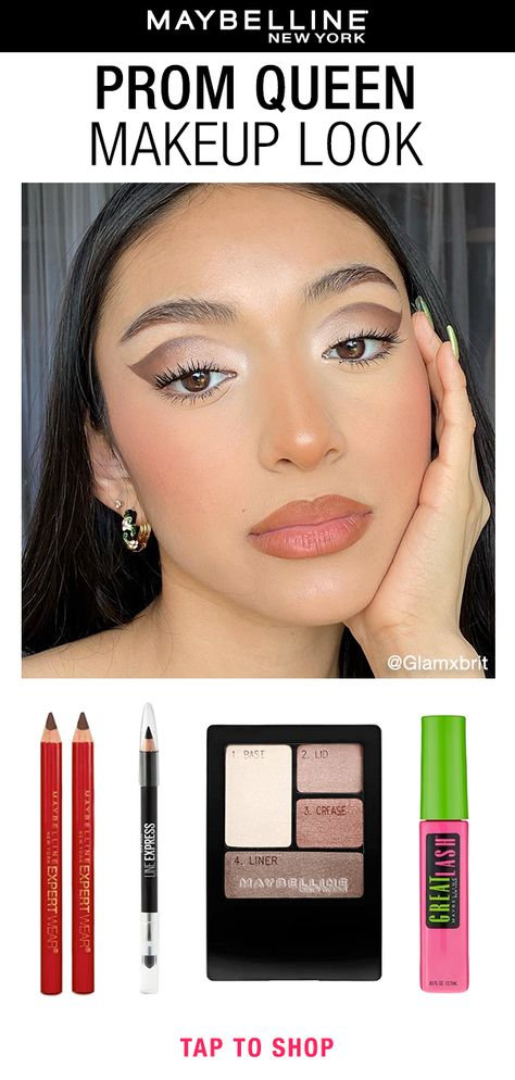 If you are still looking for an eye-catching Prom makeup look to recreate, we have got you covered! To achieve this look @Glamxbrit used Expert Wear Twin Brow  Eye Wood Pencil, Line Express Sharpenable Wood Pencil Eyeliner, Expert Wear Eye Shadow Quads, and Great Lash Mascara. Tap this pin to shop the look! #prommakeup