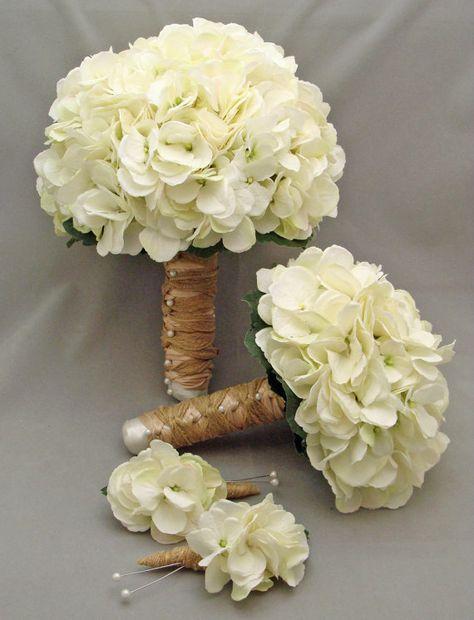 White Silk Hydrangea Bridal & Bridesmaid Bouquet Groom's Best Man Boutonniere - Silk Flower Wedding Package - Choose Your Colors. $155.00 via Etsy.