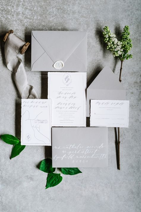 Elegant gray an white wedding invitations with hand drawn  picture and worn edges. Willowdale Estate, a weddings and events venue in Topsfield, Massachusetts. WillowdaleEstate.com | Annmarie Swift Photography