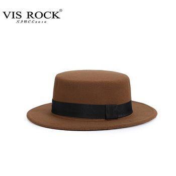 d1359a6d5ba 10 Colors Autum Winter Fashion Women Flat Top Hat Cotton Polyester Solid  Color Fedora Cap Chapeu Feminino Sombreros V152XD028