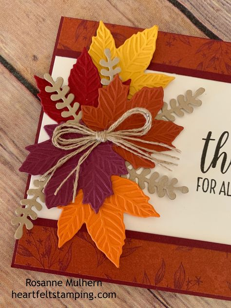 Rosanne Mulhern, Independent Stampin' Up Demonstrator Paper Cards, Diy Cards, Halloween Cards, Fall Halloween, Holiday Cards, Christmas Cards, Handmade Thanksgiving Cards, Handmade Fall Cards, Karten Diy