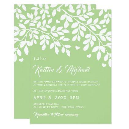 Light Green Wedding Invitations Tree Branch Hearts