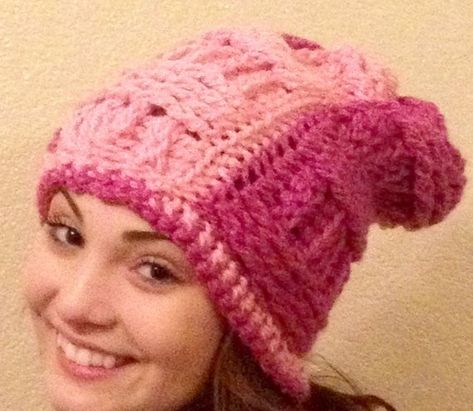 1043e890bb59d Hot Pink Light Pink Crocheted Slouchy One-Of-A-Kind Thick Winter READY TO  SHIP Hat Pink Dark Rose Berry Woman Man Unisex Very Thick