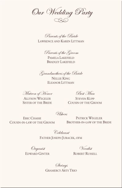 Creative Wedding Programs | 21st - Bridal World - Wedding Lists and ...