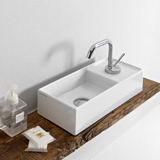 Cerastyle 001400 U By Nameek S Mini Small Ceramic Wall Mounted Or Vessel Sink Thebathoutlet In 2020 Small Bathroom Sinks Small Bathroom Small Bathroom Decor