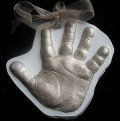 Baby handprint or footprint ornament personalized custom baby possible christmas gifts for grandparents this year diy 3d ornaments baby handprint ornament ideas solutioingenieria Images