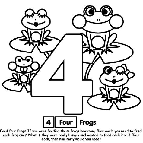 Number 4 Coloring Page Frog Coloring Pages Coloring Pages