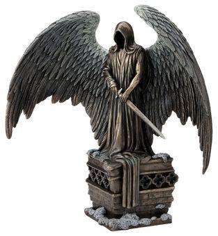 Bronzed Finish Winged Nude Male Angel Sculpture Statue Erotic Art