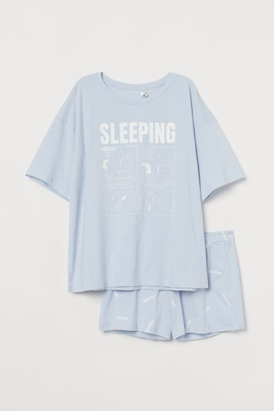 Schlaf T Shirt Und Shorts Helllila Snoopy Damen H M Ch Shirts Shorts Hemd
