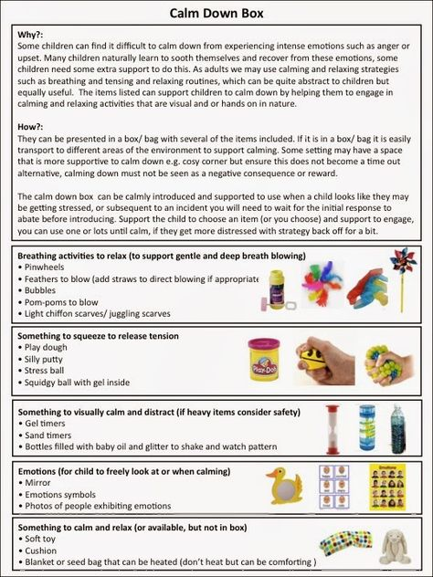 alljoinin.net blog  great infographic for making a calm down box.  Pinned by Autism Classroom News.  See more pins at http://www.pinterest.com/drchrisreeve