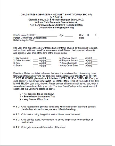 Hospital Emotional Support Form Brief Clinical Assessment Tool To