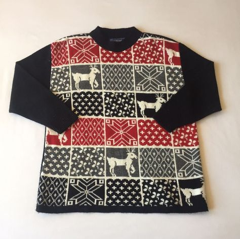 maggie mcnaughton womens size 2x ugly christmas sweater reindeer blackred plus fashion clothing shoes accessories womensclothing sweaters ebay link - Ugly Christmas Sweater Ebay