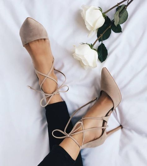 Nude Sandals Pointed Toe Lace-Up Women's Stilettos