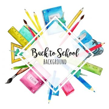 Watercolor Back To School Background School Back Chalk Png And