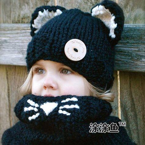 Pas cher Chat chapeau chat Hoodie Cat Cowl chapeau animale écharpe à  capuche Crochet Hoodie Chunky Crochet chapeau animaux écharpe bébé garçon  chapeau noir, ... 562a2a452ca
