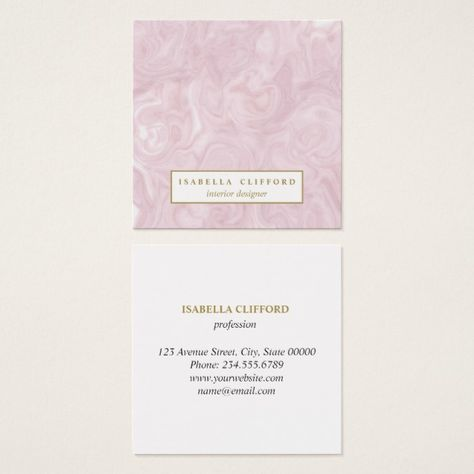 Feminine Rose Gold Marble Professional Logo Square Business Card