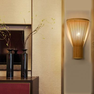Bamboo Torch Wall Washer Modern Simple 1 Light Wall Sconce In Wood For Hallway Bedroom Wall Lights Wall Lamps Dining Room Bamboo Wall
