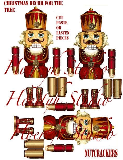 Christmas Holiday tree ornament decoration DIY instant Download Paper dolls Nutcrackers Articulated ornament for the tree or around the house