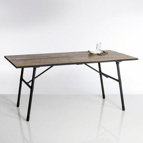 736c746c12c Table de jardin pliante bois et métal Sohan   une belle alliance de bois et  de métal pour cette table de jardin pliante pour un gain de place  appréciable.