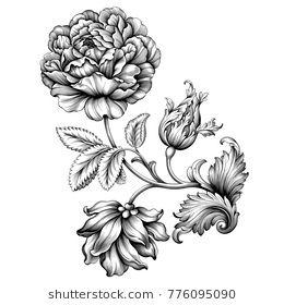 Rose Flower Vintage Baroque Victorian Floral Ornament Frame Border Leaf Scroll Engraved Retro Pattern Deco Vintage Flower Tattoo Vintage Tattoo Filigree Tattoo