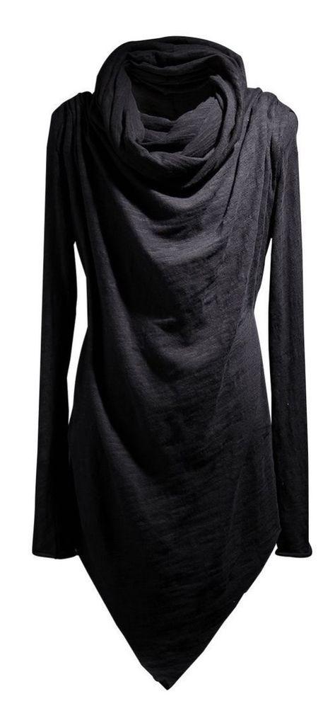 black longsleeve shirt with large cowl-neck - futuristic goth