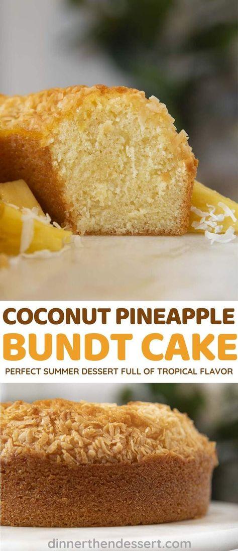 Pineapple Coconut Bundt Cake is a rich pound cake full of tropical flavor! #dessert #bundtcake #pineapple #coconut #pineapplecake #coconutcake #poundcake #summerdessert #dinnerthendessert