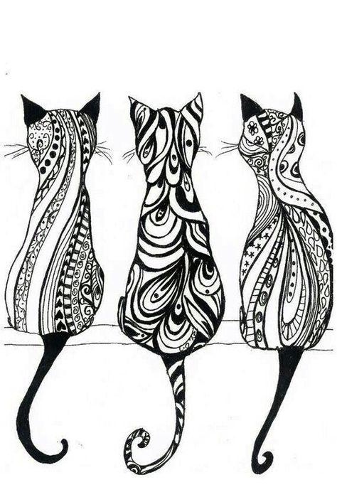 Cats Tribal Art Desenho Hippie Desenhos Para Colorir Mandalas