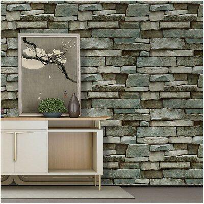 Faux Stone Wallpaper Peel Stick Wall Murals Grey Blue Prepasted Wallpaper Ebay Faux Stone Wallpaper Stone Wallpaper Faux Brick Wallpaper