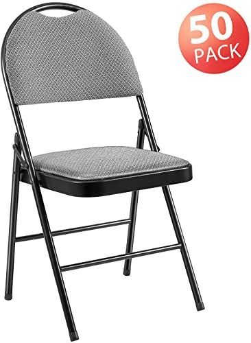Buy Folding Chair 50 Pack Steel Upholstered Padded Seat High Back Fabric Padded Folding Chairs Easy Stacked Storage Padded Dining Chairs Metal Office Use Gr In 2020 Metal Dining Chairs Padded