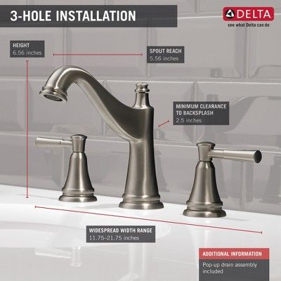 Delta Faucet 35777lf Mylan 1 2 Gpm Deck Mount Widespread Bathroom Faucet With Pop Up Drain Assembly Ve Widespread Bathroom Faucet Delta Faucets Modern Faucet