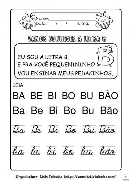 Caderninho De Atividades Letra B Letra B Atividades Letra E
