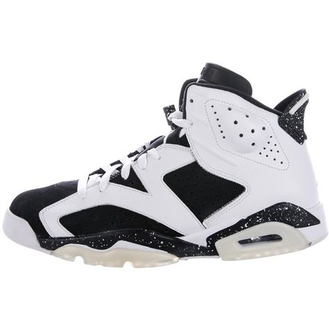 best sneakers 08357 e1768 Pre-owned Nike Air Jordan 6 Retro Oreo Sneakers ( 295) ❤ liked on Polyvore  featuring men s fashion, men s shoes, men s sneakers, white, mens white  tie, ...