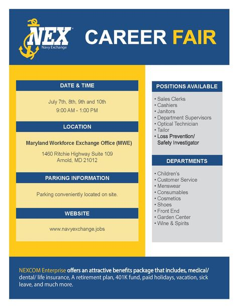 Navy Exchange Will Be Hosting A Career Fair July 7th 10th In