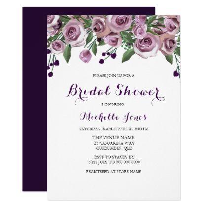 Romantic Purple Rose Bridal Shower Invitation Zazzle Com Fall