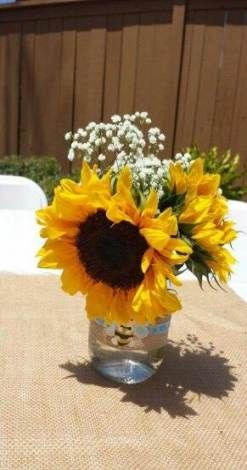 Sunflower Centerpieces Baby Shower : sunflower, centerpieces, shower, Shower, Ideas, Sunflower, Mason, Showers,, Bridal, Shower,, Birthday, Parties