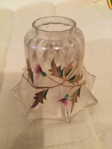 Jolie Tulipe Ancienne Verre Fleurs Dore Pour Lampe A Petrole Antique Lamp Decorative Jars Home Decor Jar