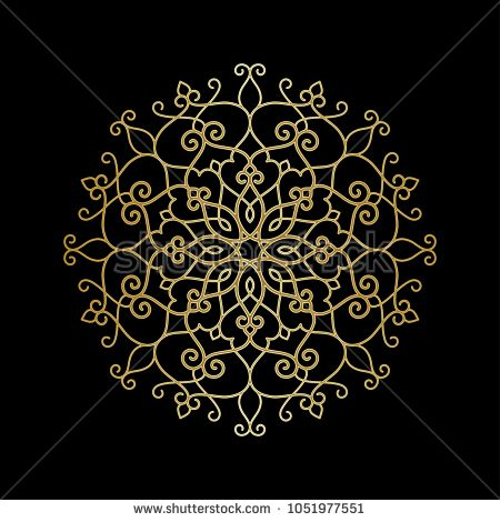 Circular Pattern Golden Mandala Round Vintage Vector Floral Ornament In Arabesque Style Circular Pattern Vintage Mandala
