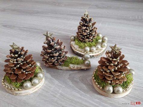 Ozdoby świąteczne boże narodzenie mini choinki szyszki mech drewno - Galeria zdjęć i obrazów na imgED