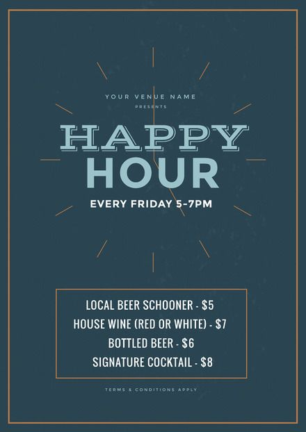 a5f58783712 Happy Hour Poster - DIY Drinks and Cocktail Templates - Drinks Poster -  Hospitality Poster