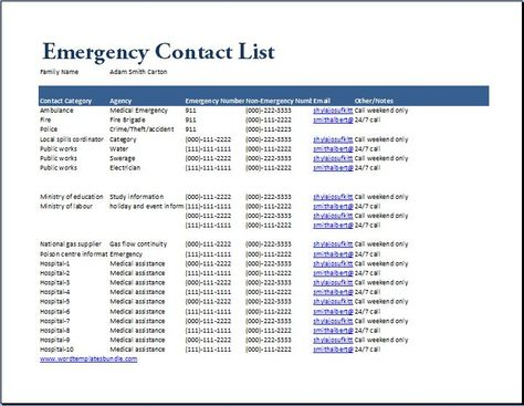 Emergency Contact List Template At Wordtemplatesbundle   Consignment  Agreement Definition  Consignment Agreement Definition