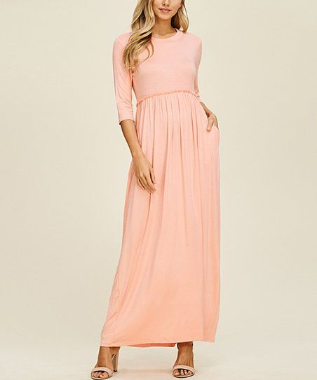 Peach Ruffle Waist Pocket Maxi Dress | zulily | Wedding