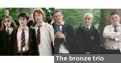 The Golden Trio With The Bronze Trio Harry James Potter Harry Hermione Ron Harry Potter Movies