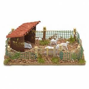 Décor de crèche, enclos avec moutons 20x12 cm | Deco village de