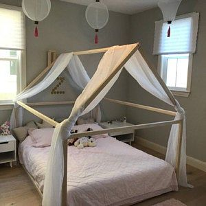 Wood Bed Full Double Toddler Bed Frame Tent Bed Wooden Etsy In 2020 Toddler Bed Frame Bed Tent House Frame Bed