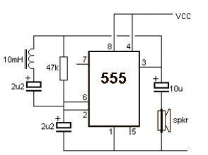 Simple Metal Detector Using 555 Timer Circuit Diagram